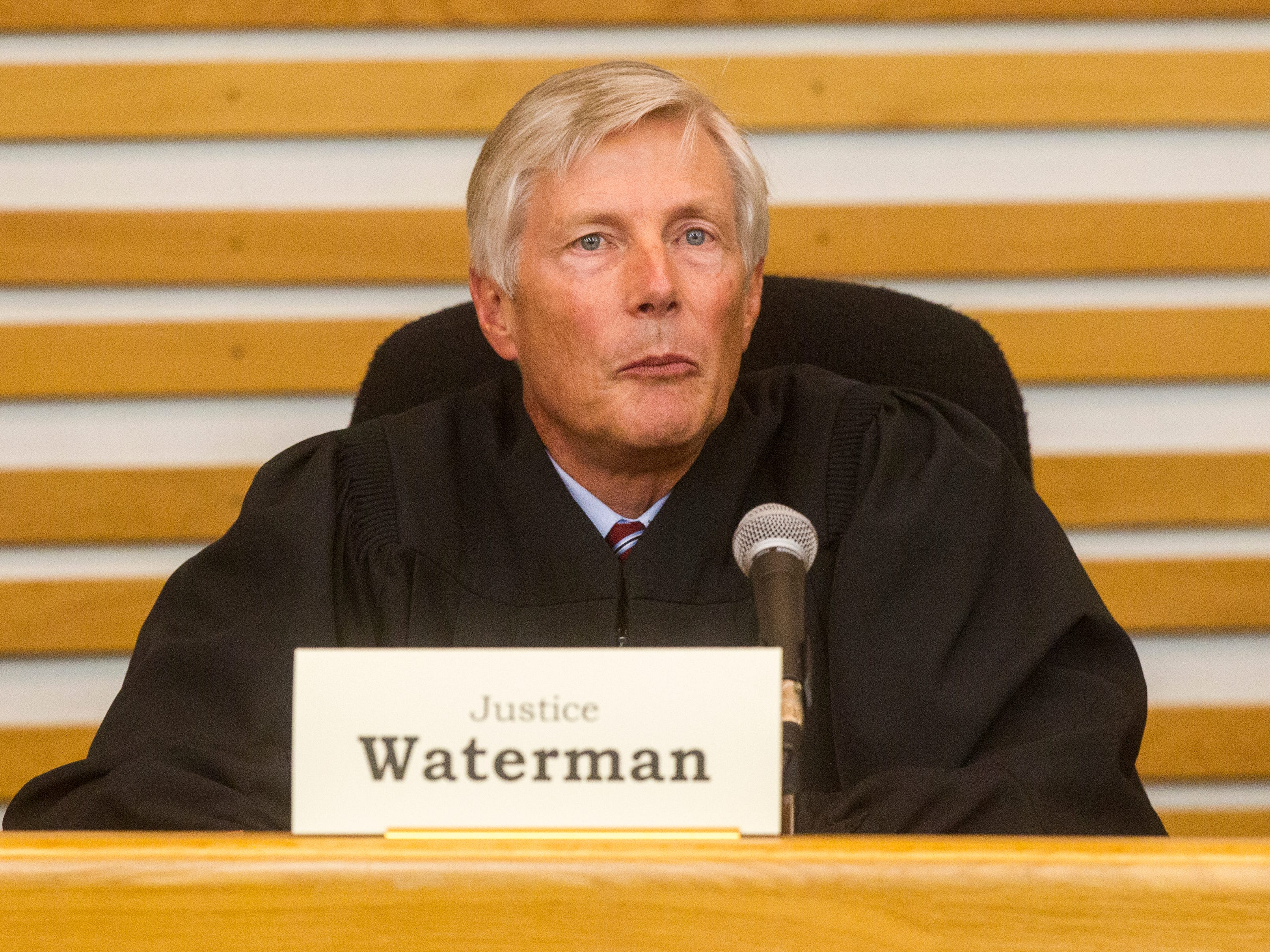 Justice Thomas Waterman of the Iowa Supreme Court speaks while oral arguments are presented on Friday, Sept. 7, 2018, at Levitt Auditorium inside the Boyd Law Building on the University of Iowa campus in Iowa City.