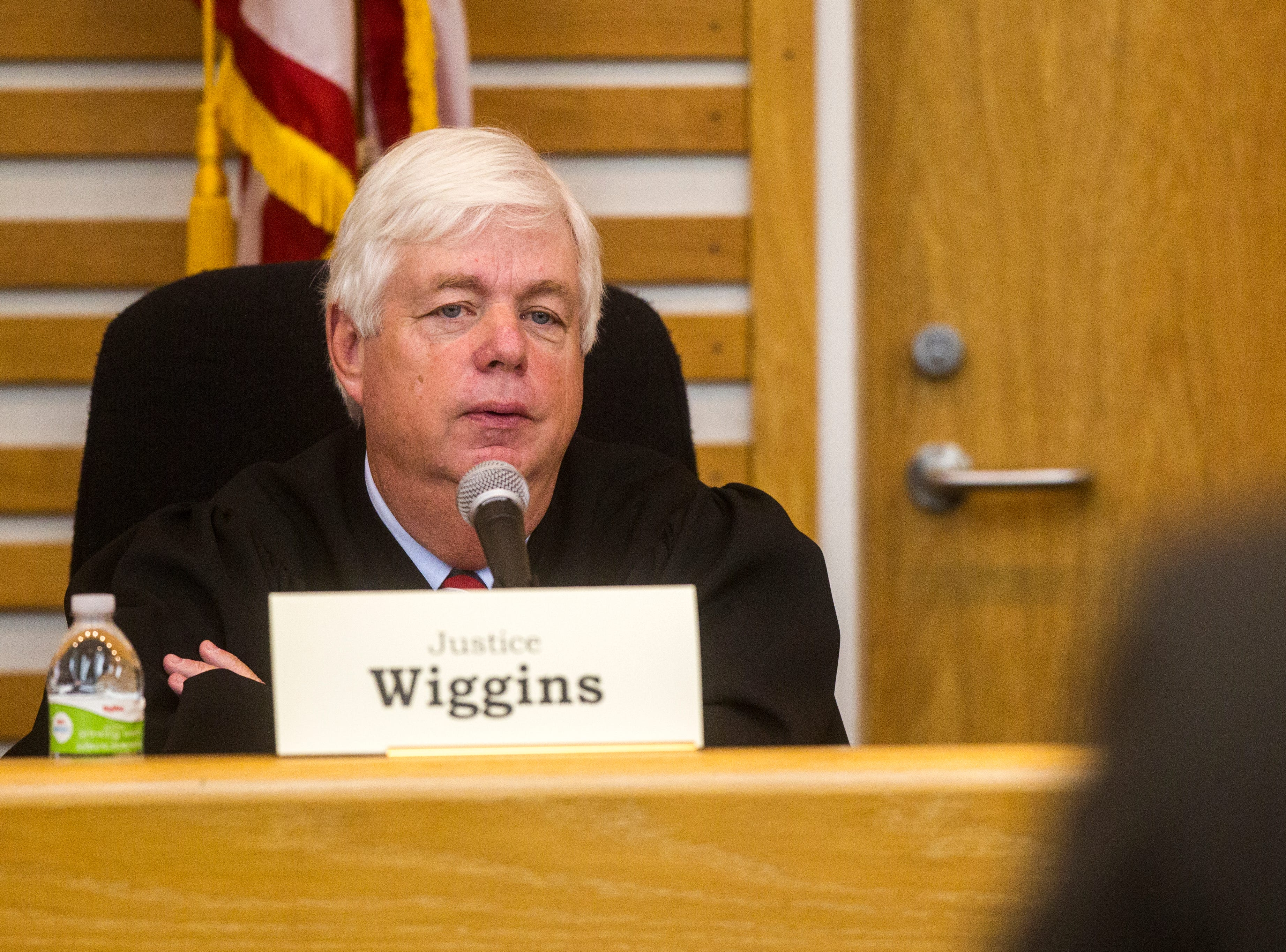 Justice David Wiggins of the Iowa Supreme Court speaks while oral arguments are presented on Friday, Sept. 7, 2018, at Levitt Auditorium inside the Boyd Law Building on the University of Iowa campus in Iowa City.