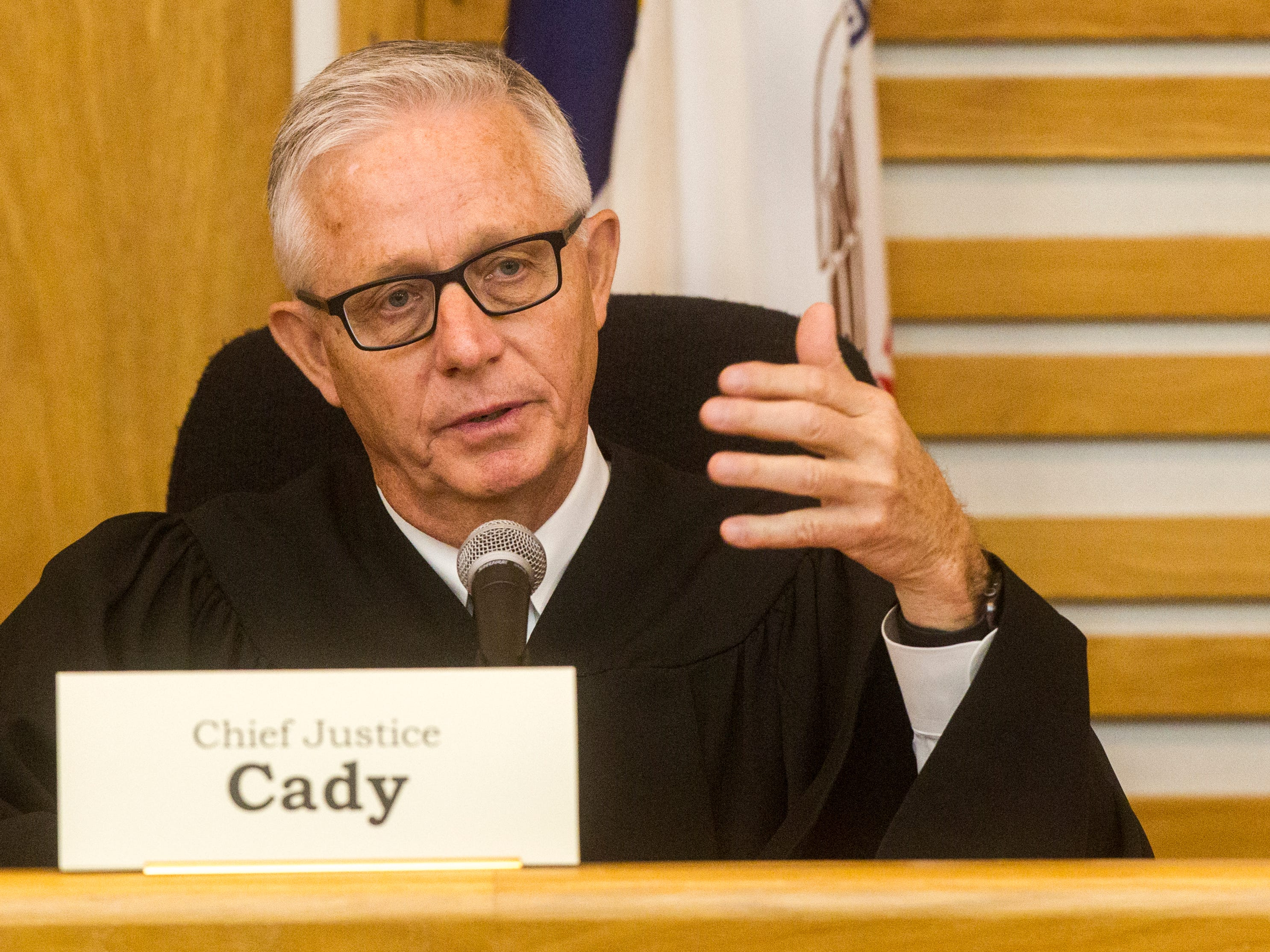 Chief Justice Mark Cady of the Iowa Supreme Court speaks while oral arguments are presented on Friday, Sept. 7, 2018, at Levitt Auditorium inside the Boyd Law Building on the University of Iowa campus in Iowa City.