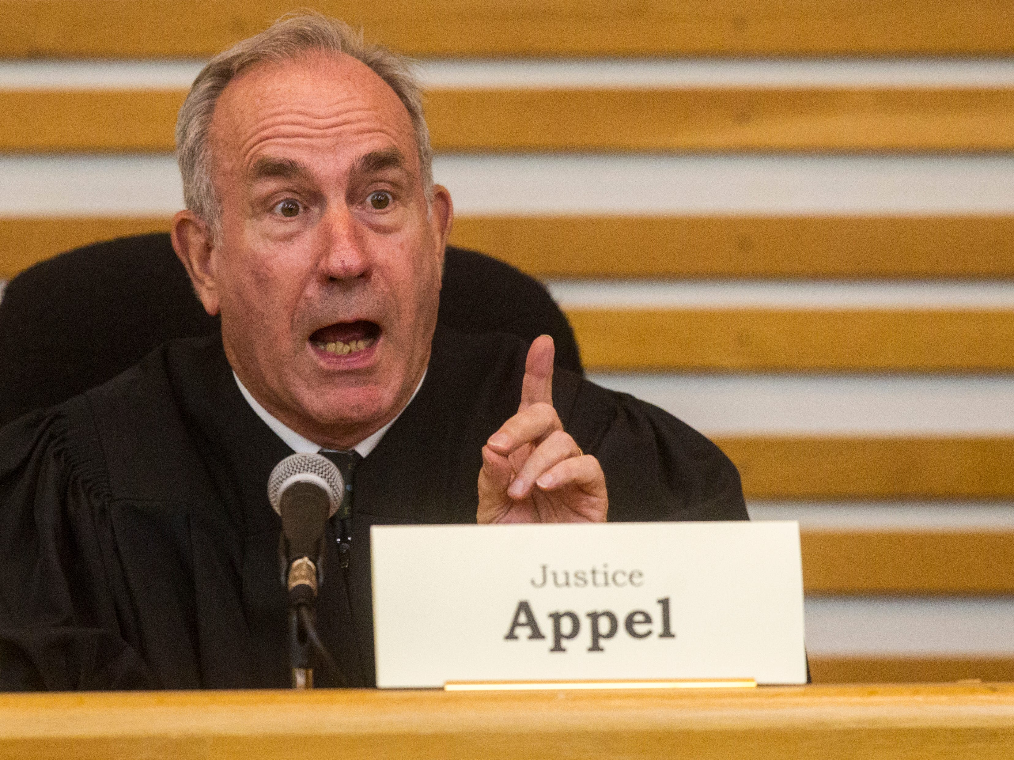 Justice Brent Appel of the Iowa Supreme Court speaks while oral arguments are presented on Friday, Sept. 7, 2018, at Levitt Auditorium inside the Boyd Law Building on the University of Iowa campus in Iowa City.