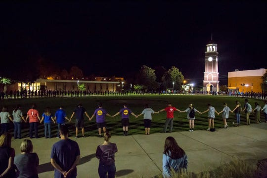 An estimated few hundred students at Freed-Hardeman University gathered for prayer on campus Sept. 26, 2018, for Slater Springman.