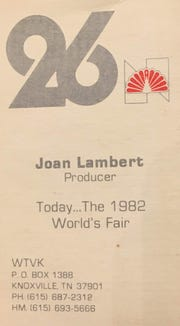 An ad announcing a program for the 1982 World's Fair. Joan Lambert as producer.