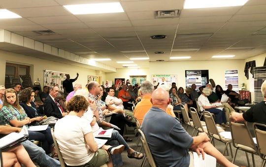 Close to 100 people attended the Recode Knoxville community input meeting on Thursday, Aug. 30, 2018, at the Church of the Good Shepherd, Fountain City. The idea was to give a high-level overview of how the map was created and the principles that went into it.