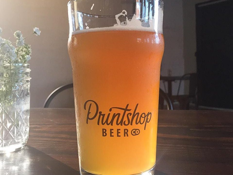 A refreshing beer at Printshop Beer Co. on Sevier Avenue, August 2018.