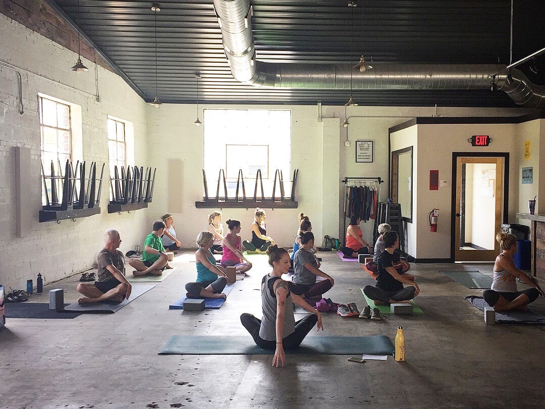 Yoga class at Printshop Beer Co. is a great way to spend your weekend.
