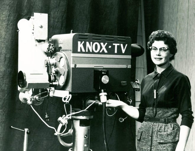 Joan Lambert poses at KNOX-TV where her husband Duane Eastvold worked in Grand Forks, N.D., in the 1950s.