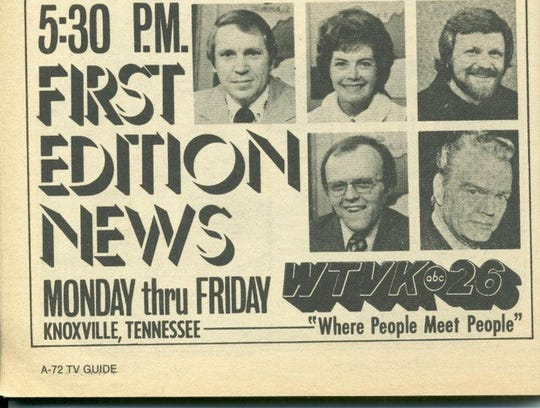 An ad in TV Guide about WTVK-TV, Channel 26 in 1976. Joan Lambert and Randy Prewitt were co-anchors for First Edition News. Johnny Mountain did the weather and David Shirk sports.