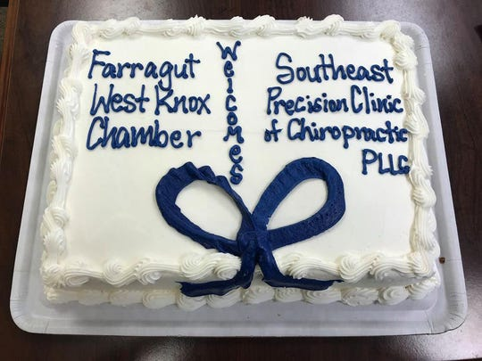 Farragut West Knox Chamber of Commerce provided a delicious cake for all to share at the ribbon cutting ceremony held at Southeast Precision Clinic of Chiropractic Monday, Aug. 13, 2018.