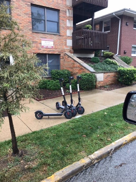 West Lafayette Police Deputy Chief Troy Harris said the police has fielded multiple complaints Friday about electric scooters on sidewalks.