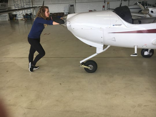 Lauren Dowd, 17, is taking flight lessons in preparation for a potential career as a fighter pilot or commercial airline pilot.
