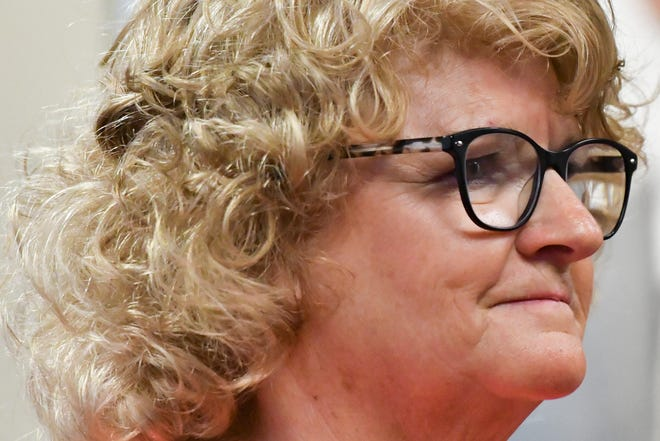 Former MSU Gymnastics Coach Kathie Klages addresses District Judge Stacia Buchanan Friday, Sept. 7, 2018, in 54A District Court in downtown Lansing, Michigan.  She has been charged with two counts of lying to a peace officer about her knowledge of ex-MSU and USA Gymnastics doctor Larry Nassar's sexual abuse.