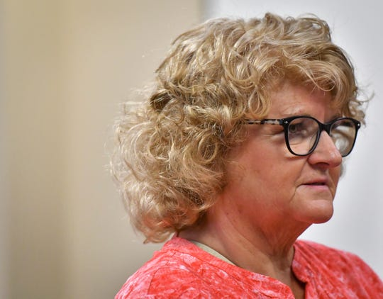 Former MSU gymnastics coach Kathie Klages addresses District Court Judge Stacia Buchanan Friday, Sept. 7, 2018, in 54A District Court in downtown Lansing, Michigan.  She has been charged with two counts of lying to a peace officer about her knowledge of ex-MSU and USA Gymnastics doctor Larry Nassar's sexual abuse.