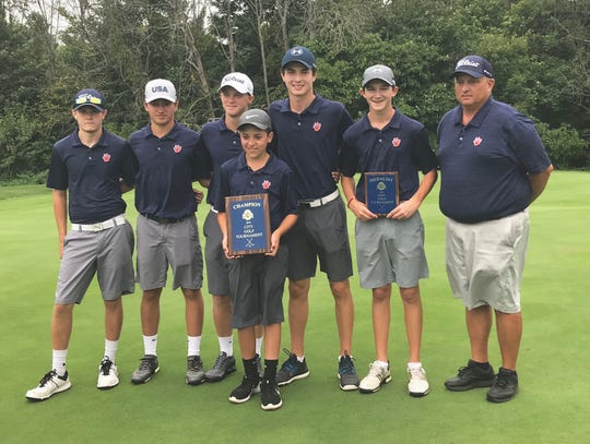 Bryce Lehman's Galion Tigers beat Lexington in a playoff for the City Golf Tournament title Friday at Oak Tree, exacting revenge after finishing second to Lex earlier this season in the Colt Classic. Matt McMulllen (second from right) also won a playoff for medalist honors after shooting 71 in regulation.