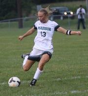 Madison's Taylor Huff scores a goal against Ashland on Thursday.
