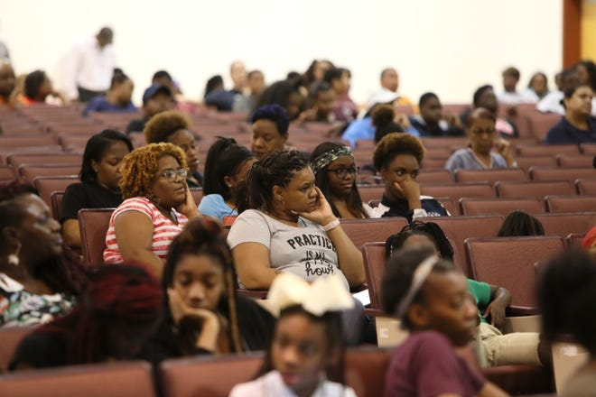Parents and students of Kirby High School listen to Shelby County Schools Superintendent Dorsey Hopson speak about the decision to shut their school down for at least six seeks after discovering a rat infestation. The announcement was made during a meeting at Hickory Ridge Middle School on Thursday, Sept. 6, 2018, along with the news that the school district is still weighing options for the students to remain together at another location for the fall.