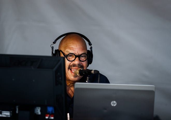 Radio host Tom Joyner during his radio show during the 2018 Southern Heritage Classic at Tiger Lane, Friday morning.