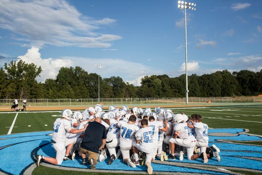 September 06 2018 - The Lakeland team gathers together at midfield before the start of the first home game to take place at Lakeland Middle School. Until the start of this game, all of Lakeland Middle School's football games were played away.