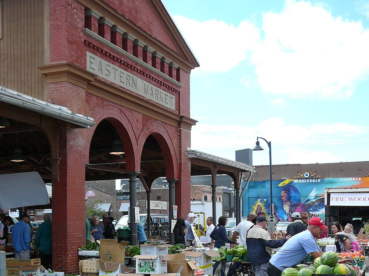 Hundreds of vendors fill stalls at Detroit's Eastern Market.