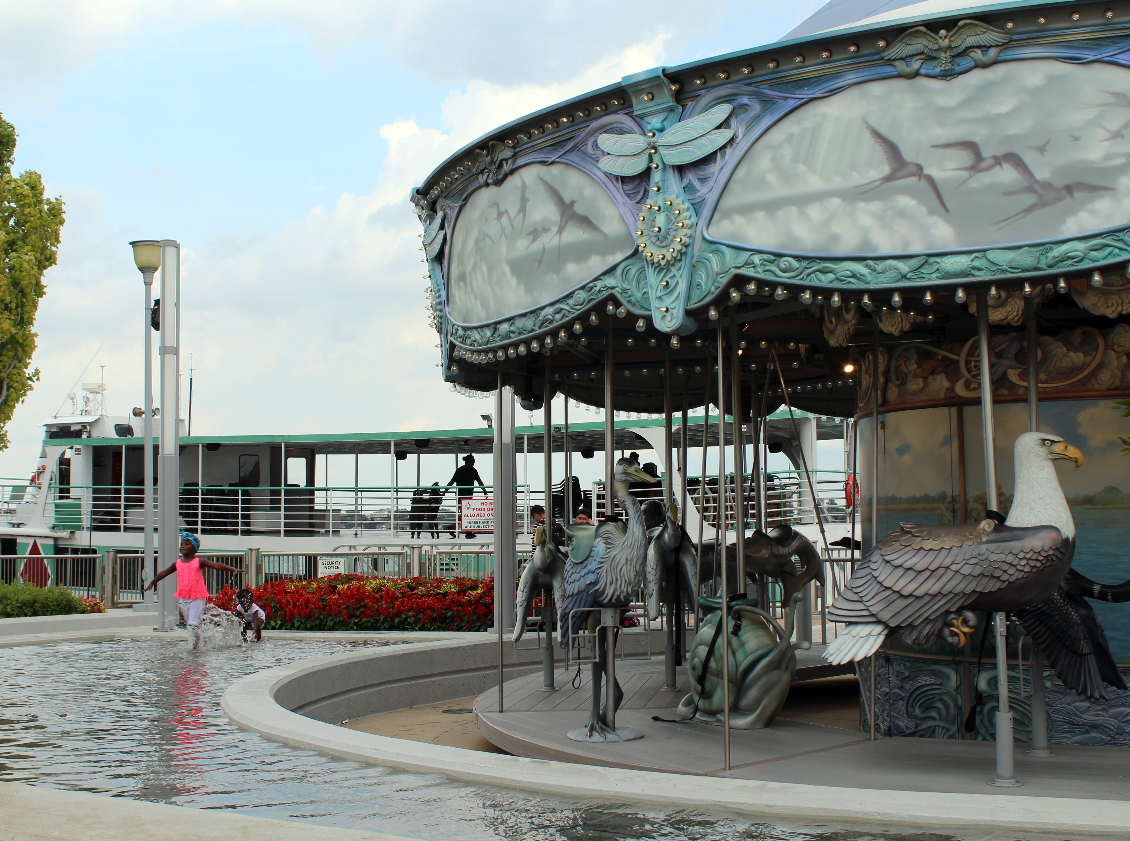 A carousel along  the Detroit riverfront.