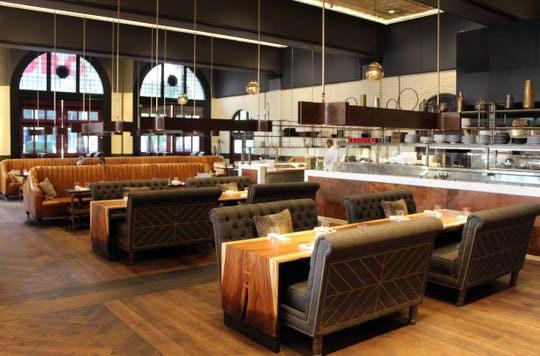 The Apparatus Room restaurant is in the Detroit Foundation Hotel, a former fire department headquarters.