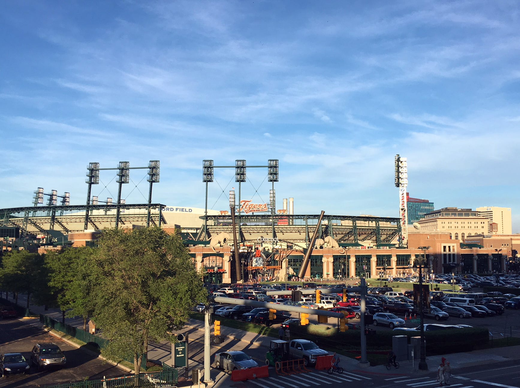 Detroit's sports district is home to the Tigers, Lions, Pistons and Red Wings.