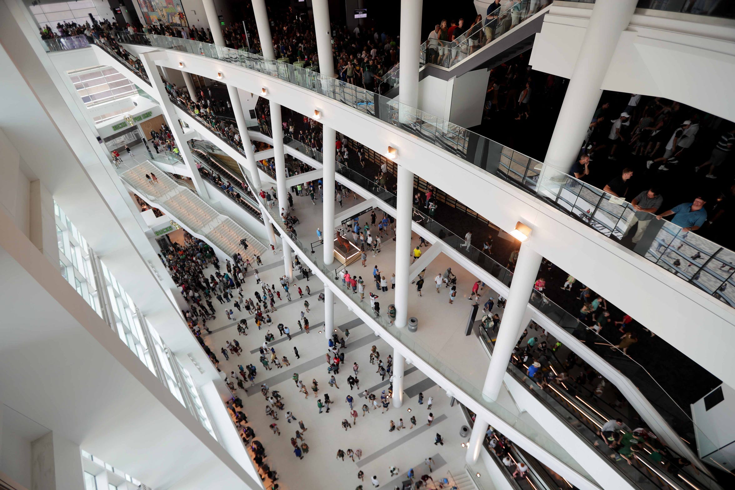 Open concourses add to the spacious feeling of the new Fiserv Forum, home of the Milwaukee Bucks.