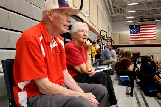 Ronald and Marilyn Woolsey watch a Brookfield East junior varsity boys volleyball game from their favorite position high in the bleechers and mid court on Sept 6.