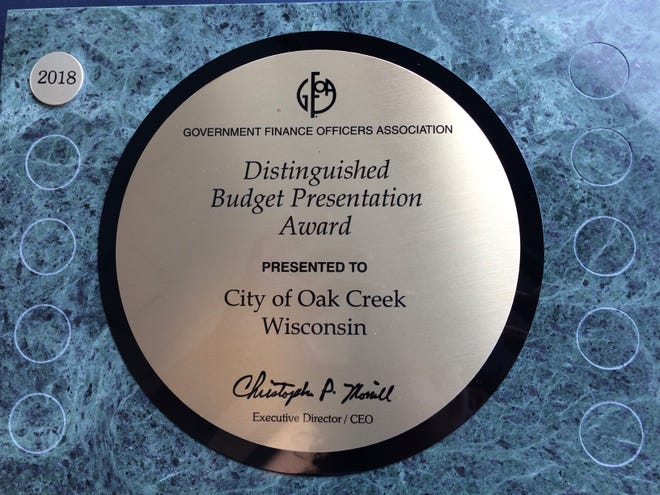 Oak Creek was the recipient of a distinguished budget award from the Government Finance Officers Association (GFOA). This was the first year Oak Creek applied for the award.