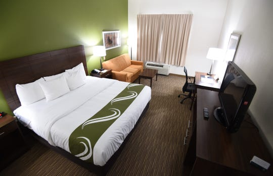 The renovated rooms at Quality Inn and Suites Mountain Home feature earthy greens and crisp whites.