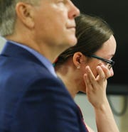 Elise Conroy speaks to the judge during her sentencing on the guilty plea to aggravated assault on her grandmother inside Judge Stephen Taylor's courtroom at the Morris County Courthouse on September 7, 2018.   Alexandra Pais/ The Daily Record