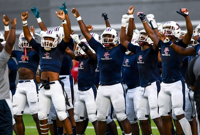 Park Crossing players get up for the Dothan game in first half action at Cramton Bowl in Montgomery, Ala., on Thursday September 6, 2018.