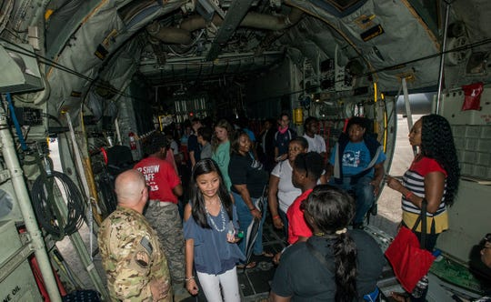 Students tour aircraft and talk to experts during STEM day Friday, Sept. 7, 2018, at Dannelly Field in Montgomery, home of the Alabama Air National Guard's 187th Fighter Squadron.