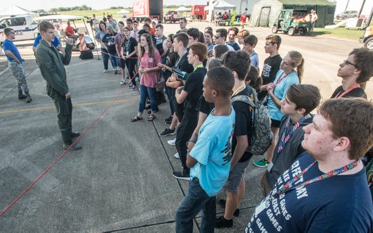"""F-35 pilot Capt. Richard """"Lancer"""" Brennan speaks to students Friday, Sept. 7, 2018, at Dannelly Field in Montgomery, home of the Alabama Air National Guard's 187th Fighter Squadron."""