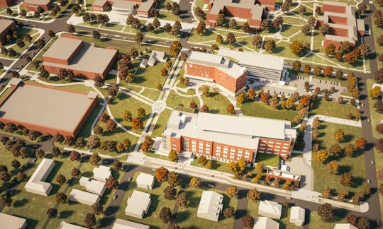 Ball State plans to start construction on the new foundational sciences building (bottom) next June, behind the new health professions building now under construction.