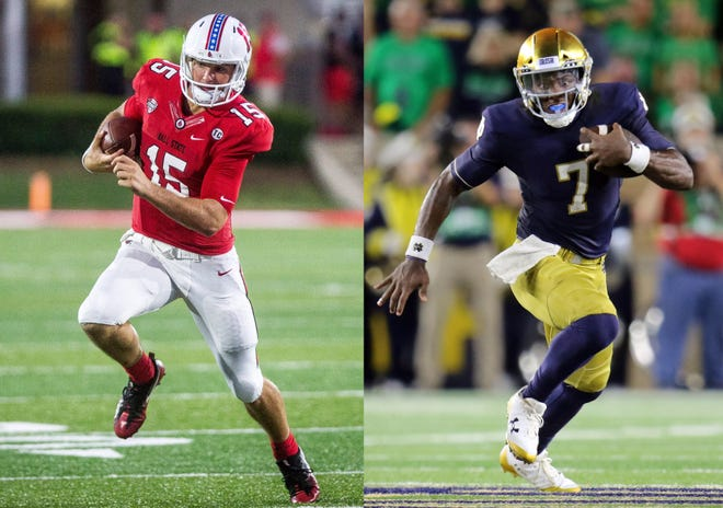 Ball State's Riley Neal, left, and Notre Dame's Brandon Wimbush met five years ago at a camp.