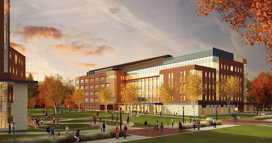 Architects presented this drawing of the proposed foundational sciences building at Ball State on Friday.