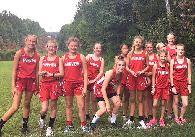 Members of the Fairview Middle School Lady Falcons Cross Country Team at recent Bowie Nature Park meet.