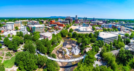 Drone City Aerial Of Downtown Greenville South Carolina