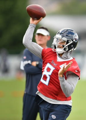 Tennessee Titans quarterback Marcus Mariota (8) throws a pass during practice at Saint Thomas Sports Park Friday, Sept. 7, 2018, in Nashville, Tenn.