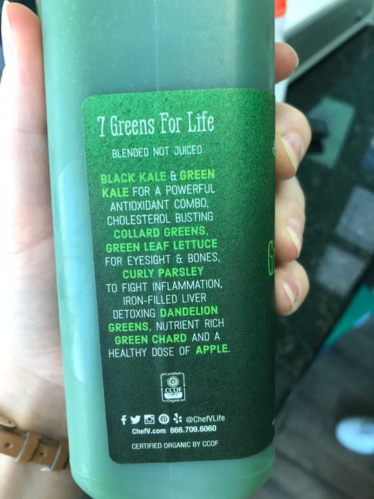 The ingredients in Chef V's juice blend are mainly vegetables.