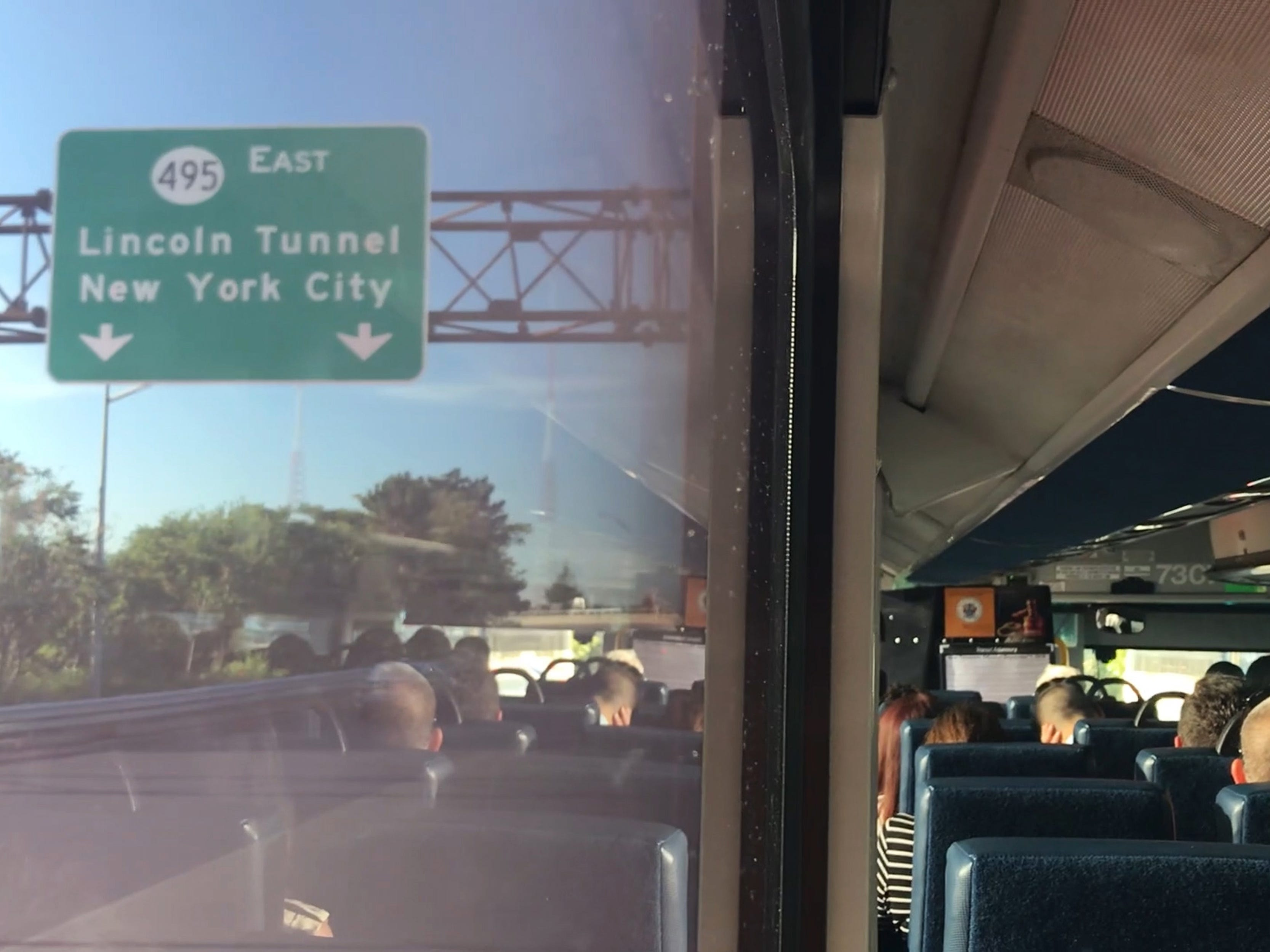 A NJ Transit Bus approaches the Lincoln Tunnel after leaving the Vince Lombardi Park and Ride in Ridgefield on Tuesday September 4, 2018.