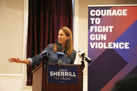 Congressional candidate in NJ 11 Mikie Sherrill talks about gun control legislation during this campaign appearance at the American Legion Hall in Woodland Park where she received the support of former congresswoman Gabby Giffords.