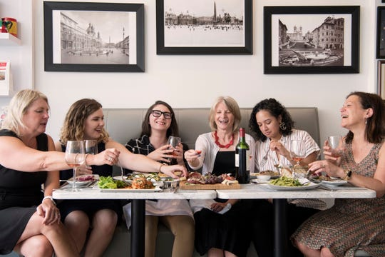 (from left)  Senior Director Liz Johnson, Food Writer Rebecca King, Digital Producer and Trending Reporter Jessica Presinzano, Food Editor Esther Davidowitz, Social Media Editor Elyse Toribio, and Food Editor and Writer Cindy Schweich Handler at From Scratch in Ridgewood on Thursday, September, 6, 2018.