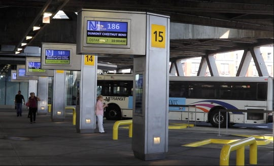 New Jersey Transit buses lined up at the renovated bus terminal at the George Washington Bridge.