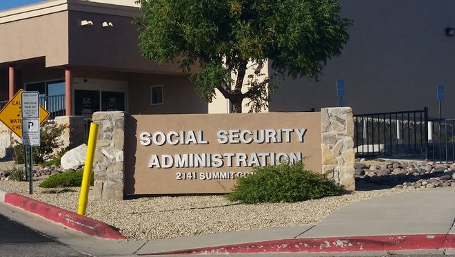 A sign is seen at 2141 Summit Court outside the Social Security Administration building in Las Cruces.