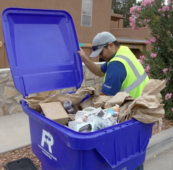 "Arturo Ramos, SCSWA recycling attendant, will be part of the team checking Las Cruces blue recycling bins in an effort to help alert residents if they are not ""Recycling Right."" If the bin is full of trash, food waste, or other non-recyclables it will be tagged with an ""oops!"" tag and not emptied."