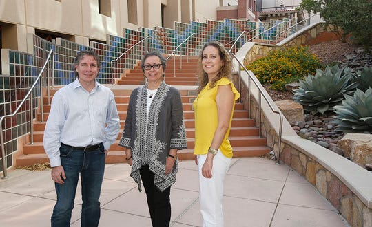 Enrico Pontelli, left, dean of NMSU's College of Arts and Sciences; Ann Gates, professor and chair of UTEP's Department of Computer Science; and Andrea Tirres, interdisciplinary network manager at UTEP's Office of Research and Sponsored Projects. NMSU and UTEP are among the handful of institutions to receive a portion of the $9.9 million NSF INCLUDES grant.