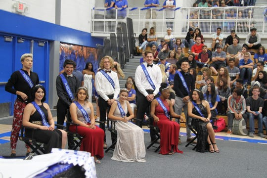 The 2018 Carlsbad Homecoming Court stands at attention during Friday's pep rally.