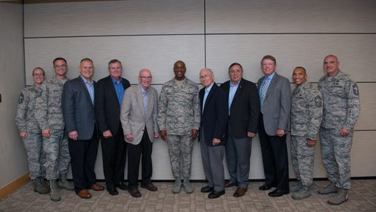Chief Master Sgt. of the Air Force Kaleth O. Wright, his team and six of the former Chief Master Sergeants of the Air Force pose for a photo during the 2018 Senior Enlisted Statesmen Forum Sept. 5, at Offutt Air Force Base, Nebraska. The forum was an opportunity for the senior enlisted leaders to discuss the future of the Air Force.
