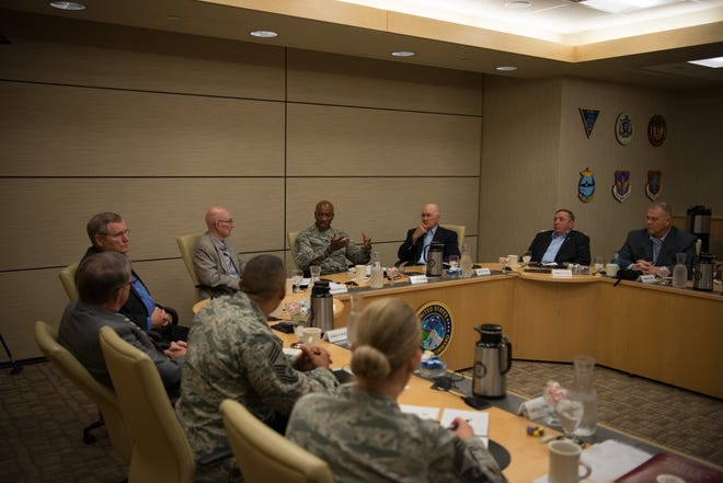 Chief Master Sgt. of the Air Force Kaleth O. Wright speaks with six of the former Chief Master Sergeants of the Air Force and his team during the 2018 Senior Enlisted Statesmen Forum Sept. 5, at Offutt Air Force Base, Nebraska. Topics discussed during the forum included policy, training and resilience.